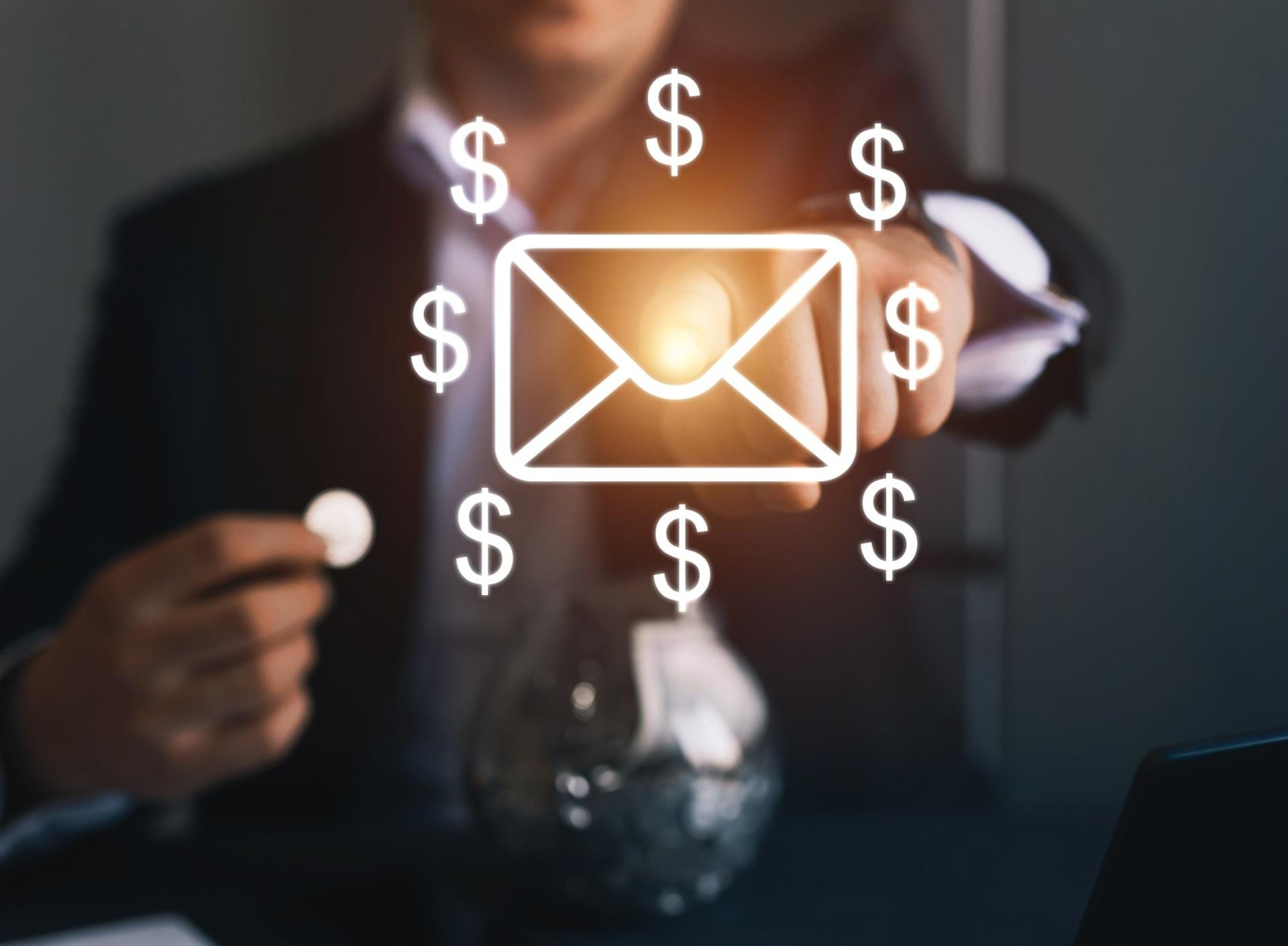 Email Marketing Graphic with envelope and dollar signs