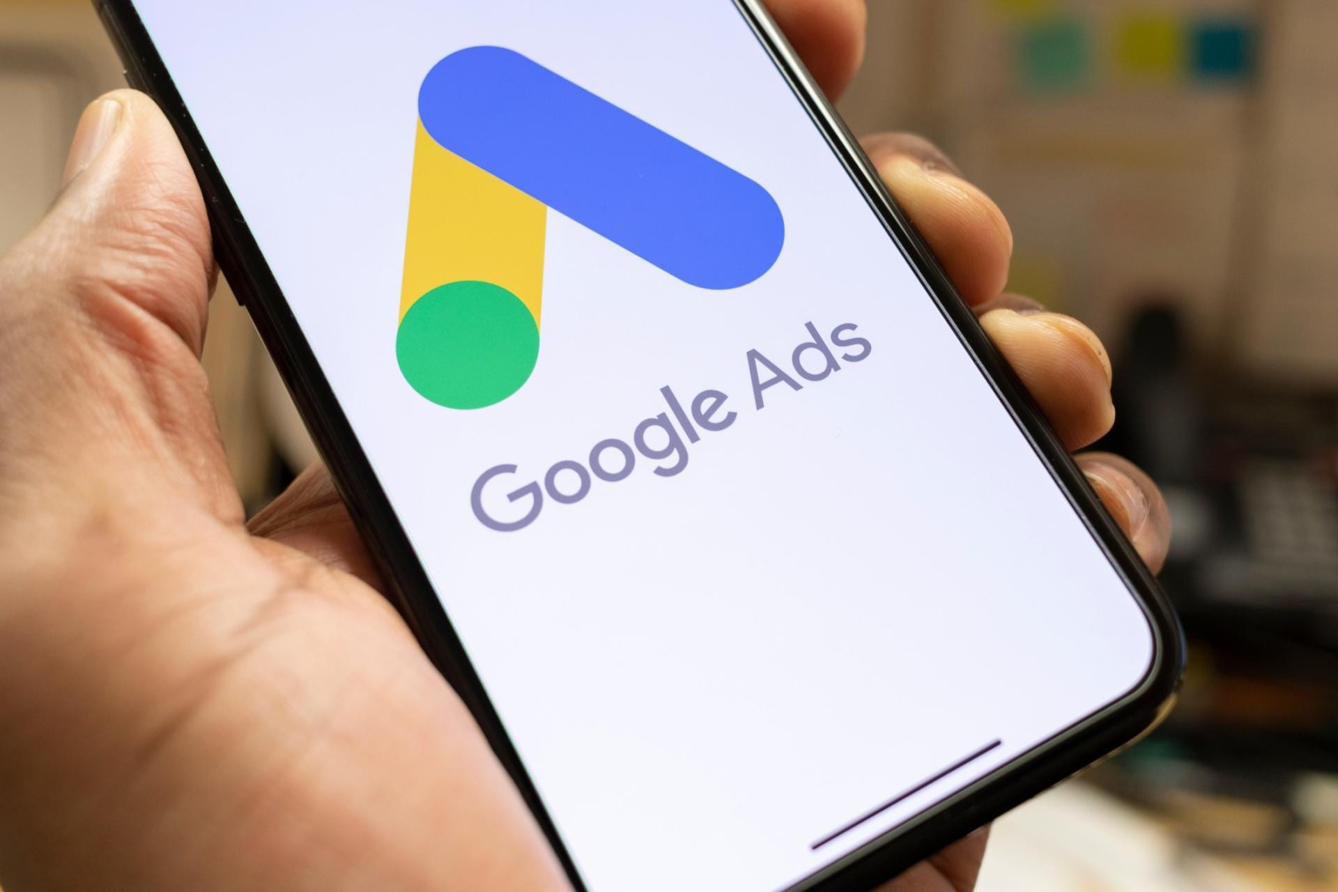 Google Ads Campaign - Phone with Google Ads Logo on the screen.